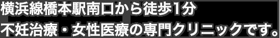 横浜線橋本駅南口から徒歩1分の不妊治療・女性医療の専門クリニックです。